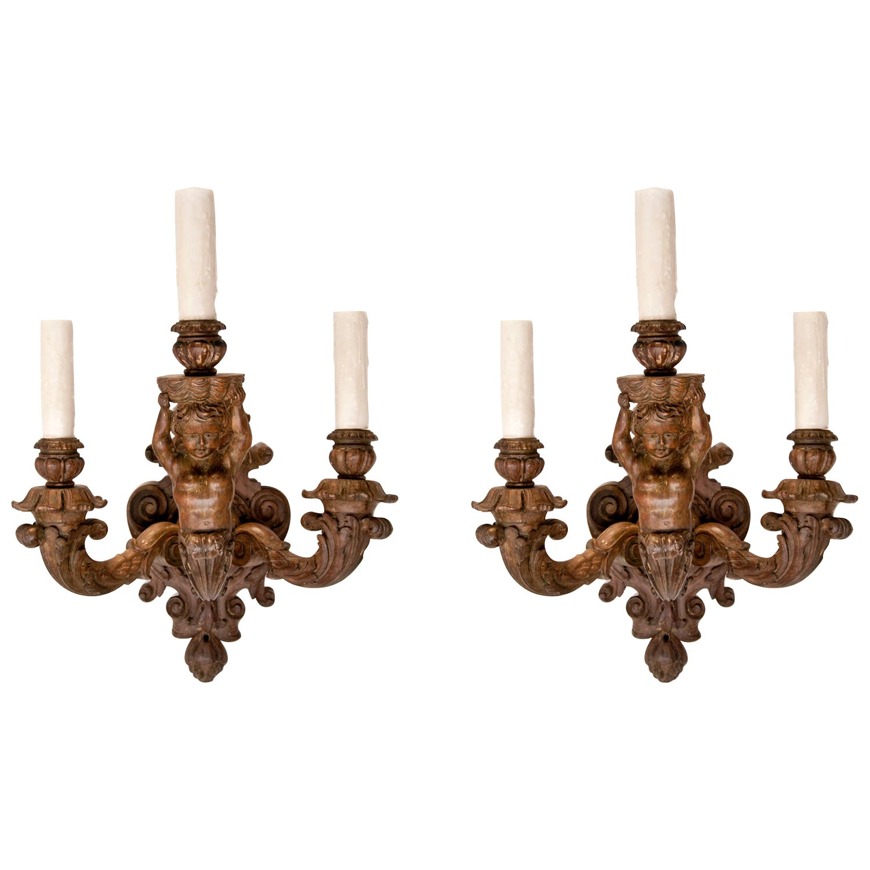 Pair of Italian Wood Cherub Sconces