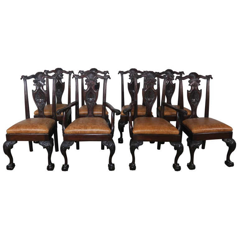 Eight English Chippendale Carved Dining Chairs
