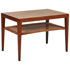 Two-Tiered Midcentury Coffee or End Table in Walnut with Rattan Shelf