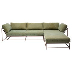 Vintage Military Canvas and Marbled Rust Armed Sectional