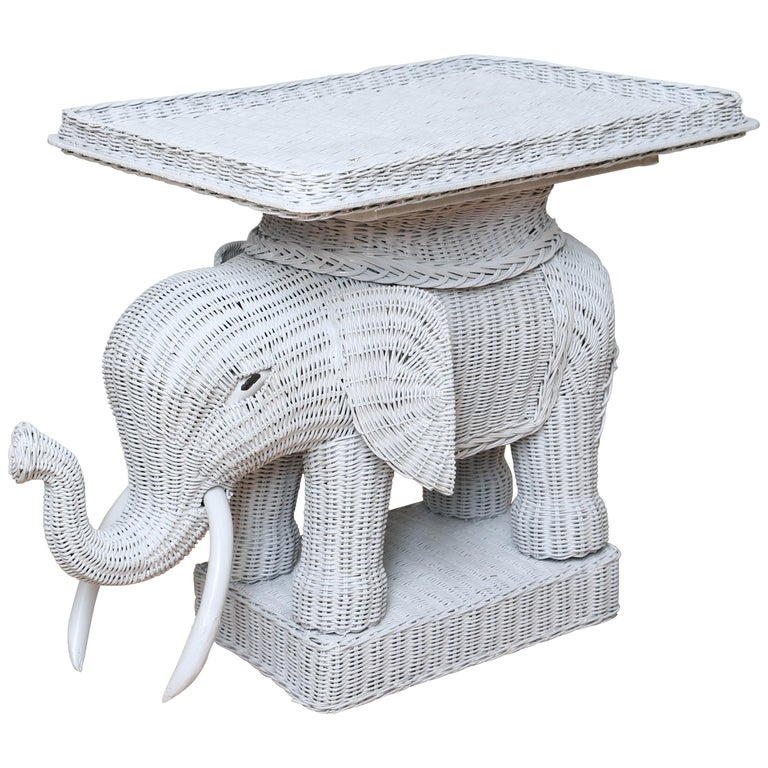 Vintage Wicker Elephant Tray Top Table