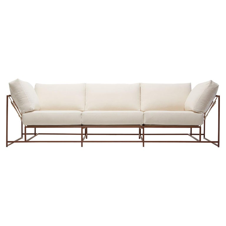 Natural Canvas and Marbled Rust Sofa