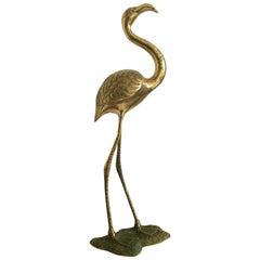 Very Beautiful Mid-Century Modern XXL Brass Flamingo