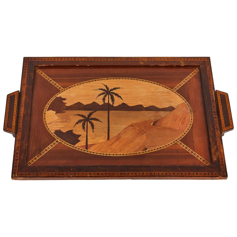 Inlaid Wood Serving Tray