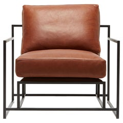Cuero Brown Leather and Blackened Steel Armchair