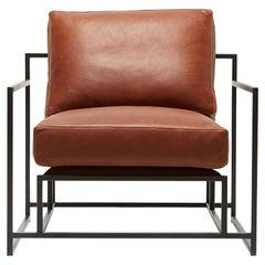 Auburn Leather and Blackened Steel Armchair