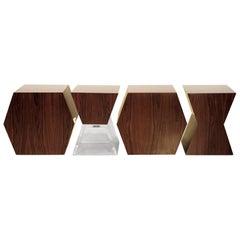 "Contemporary Imbuia and Acrylic ""XY"" Benches"