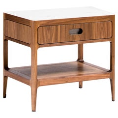 Radius Single Drawer Side Table or Nightstand in Walnut with Alabaster Resin Top