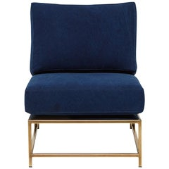 Indigo Canvas & Tarnished Brass Chair