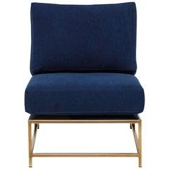 Indigo Canvas and Tarnished Brass Chair