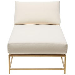 Natural Canvas & Tarnished Brass Chaise Longue