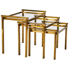 1930s French Set of Nesting Tables in Brass with Glass Tops