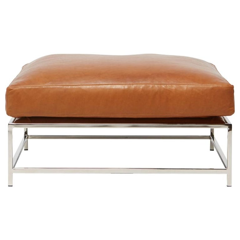 Nutmeg Brown Leather & Polished Nickel Ottoman