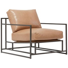 Light Caramel Leather and Blackened Steel Armchair