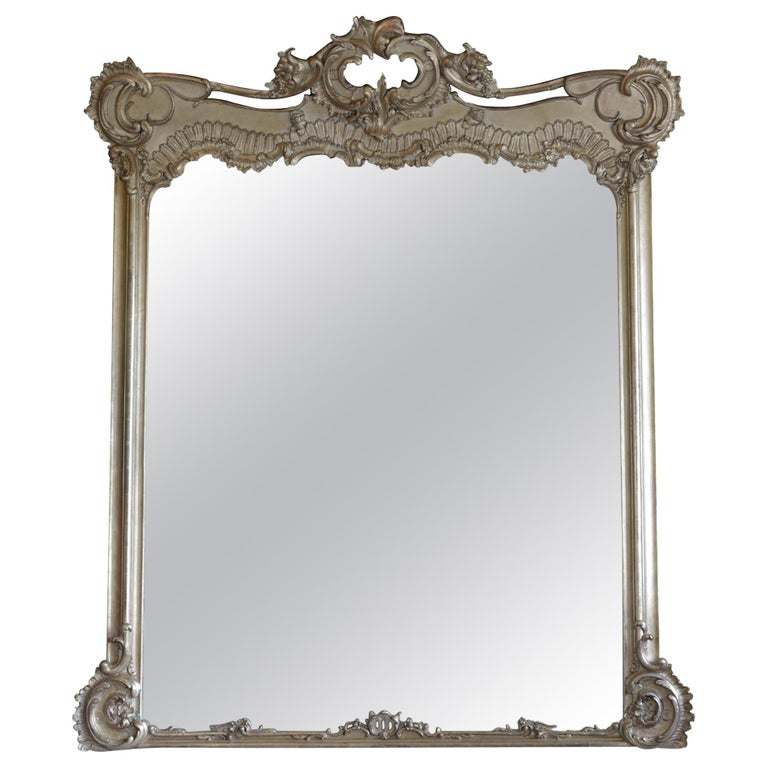Large Silver Tone French Rococo Style Wall Mirror
