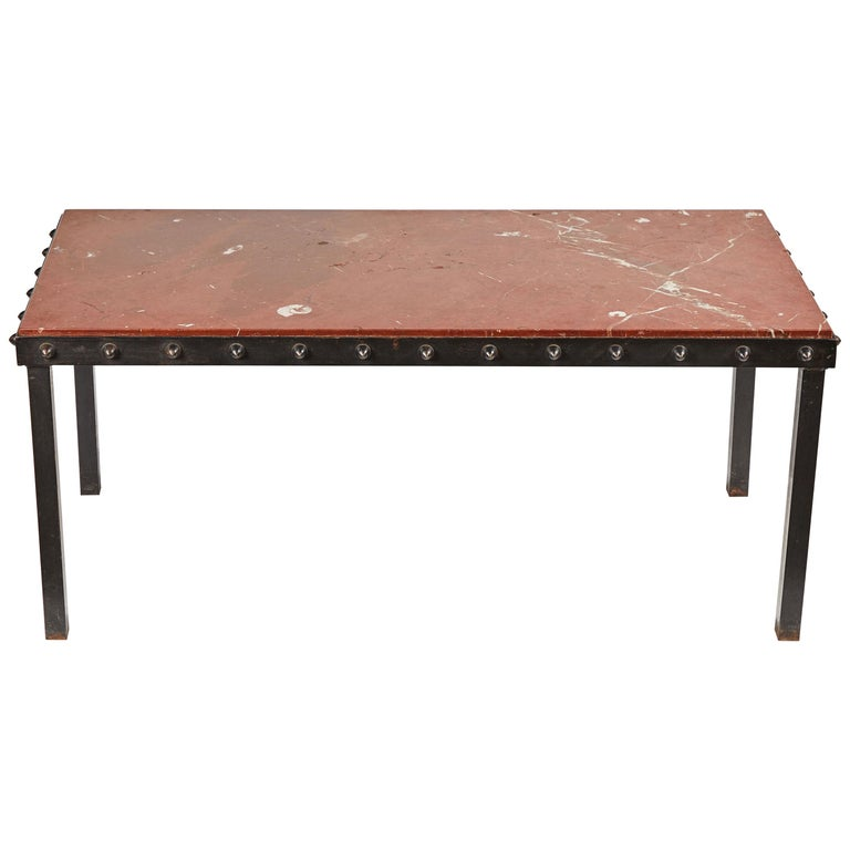S French Marble Top Coffee Table With Iron Legs And Studded Trim - Studded coffee table