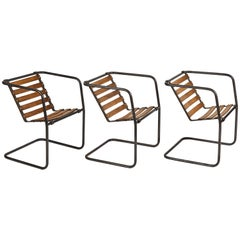 Set of Six Industrial Metal and Wood Chairs with Adjustable Seats