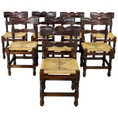 Eight Colonial Style Dining Chairs with Rush Seats Stamped Hecho en Mexico