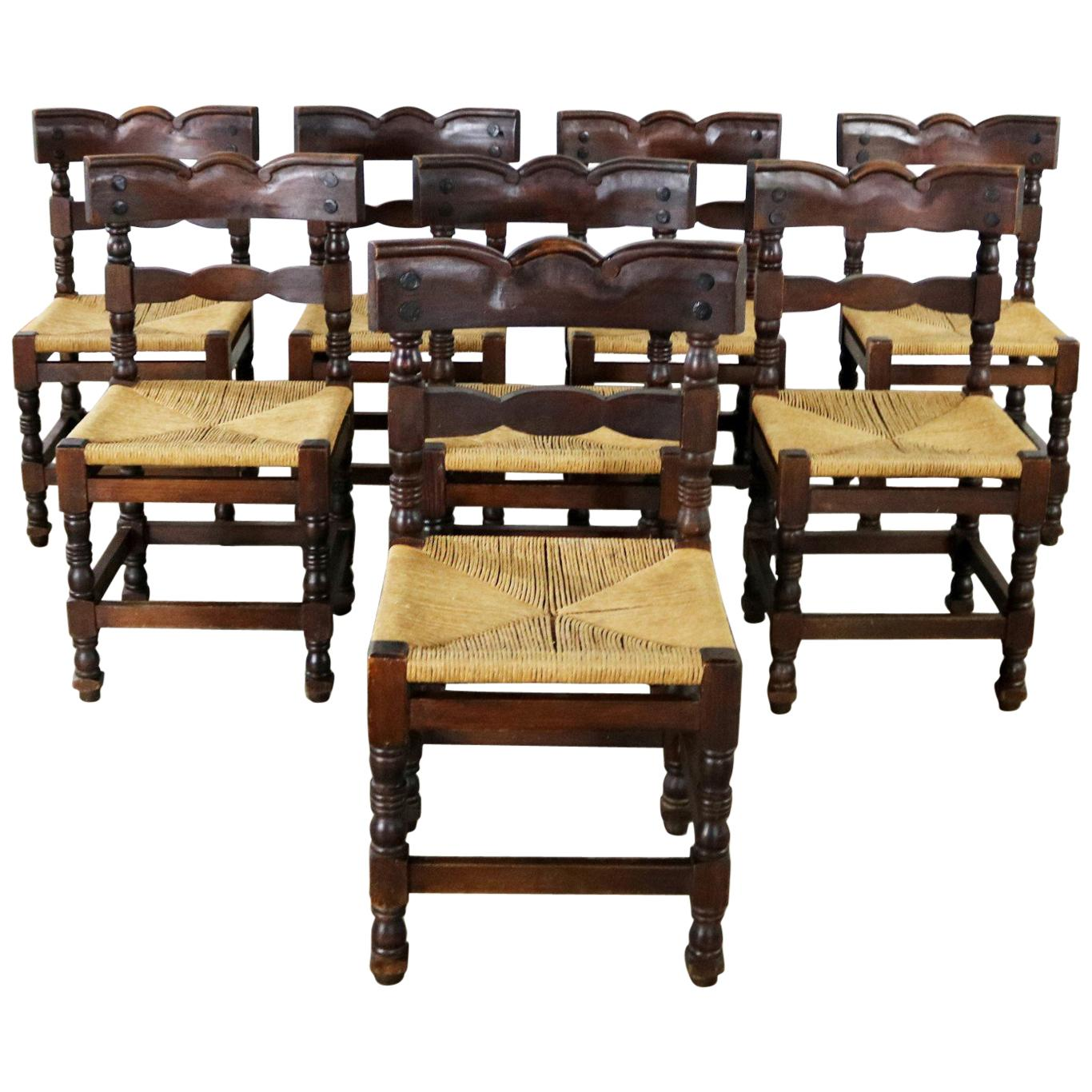 Eight Colonial Style Dining Chairs with Rush Seats St&ed Hecho en Mexico  sc 1 st  1stDibs & Rush Chairs - 68 For Sale at 1stdibs