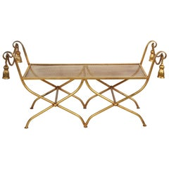 Italian Gilt Hollywood Regency Style Tassel or Rope Bench