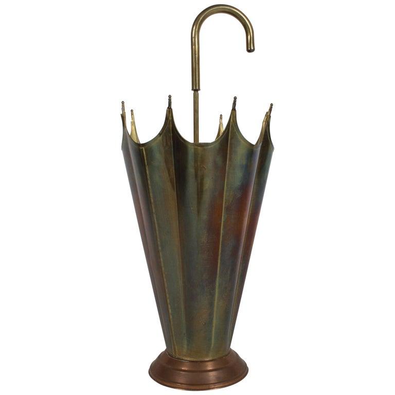 Vintage Italian Brass Umbrella, Umbrella Stand
