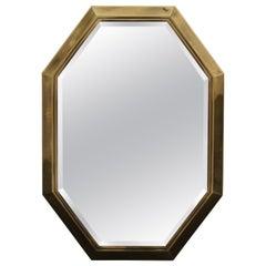 Large 1970s Brass Mastercraft Octagonal Mirror