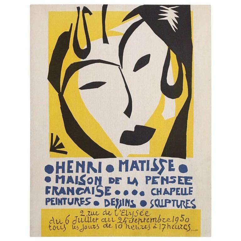 Original Vintage Poster Henri Matisse 1950 Original Lithograph Yellow French
