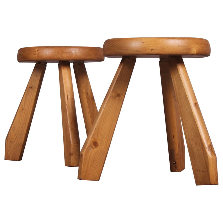 """Pair of """"Sandoz"""" Stools in Pine by Charlotte Perriand"""