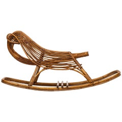 Rocking Chair for Children in Rattan Produced in Denmark