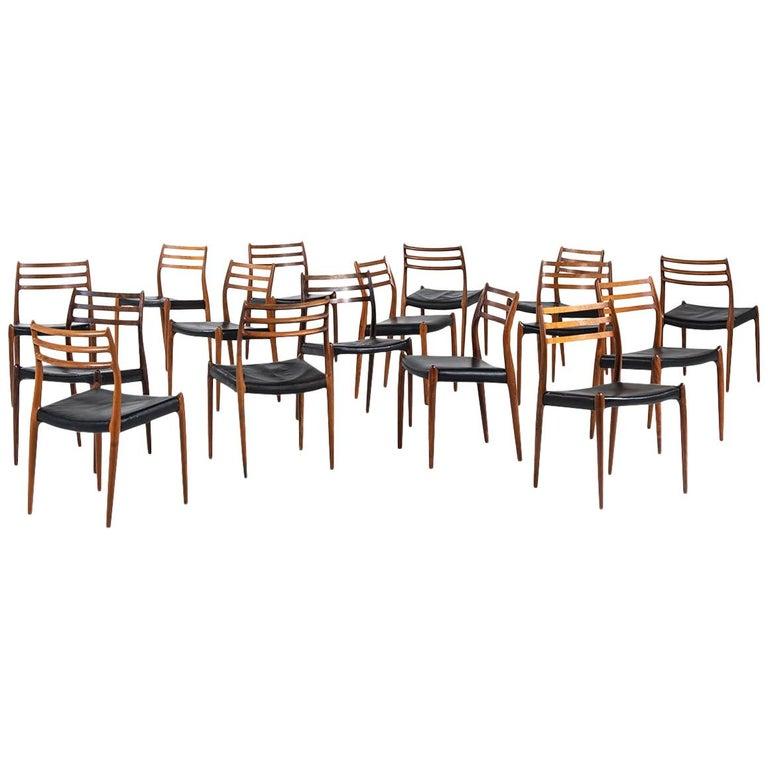 Niels O. Møller Dining Chairs Model 78 by J.L Møllers Møbelfabrik in Denmark