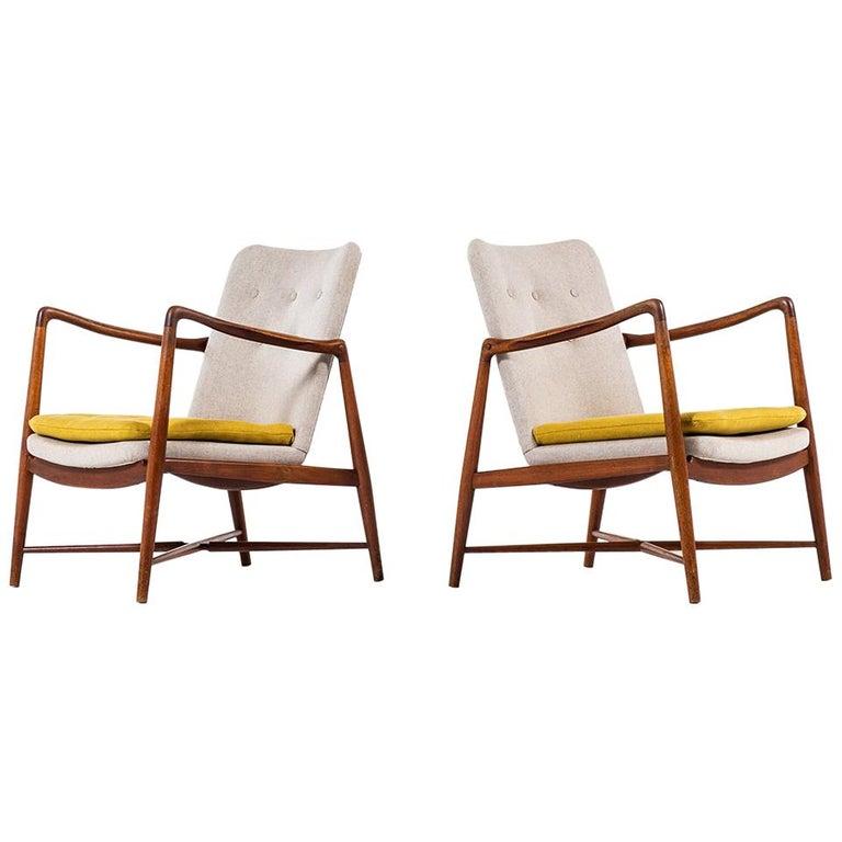 Finn Juhl Easy Chairs Model BO59 by Bovirke in Denmark For Sale