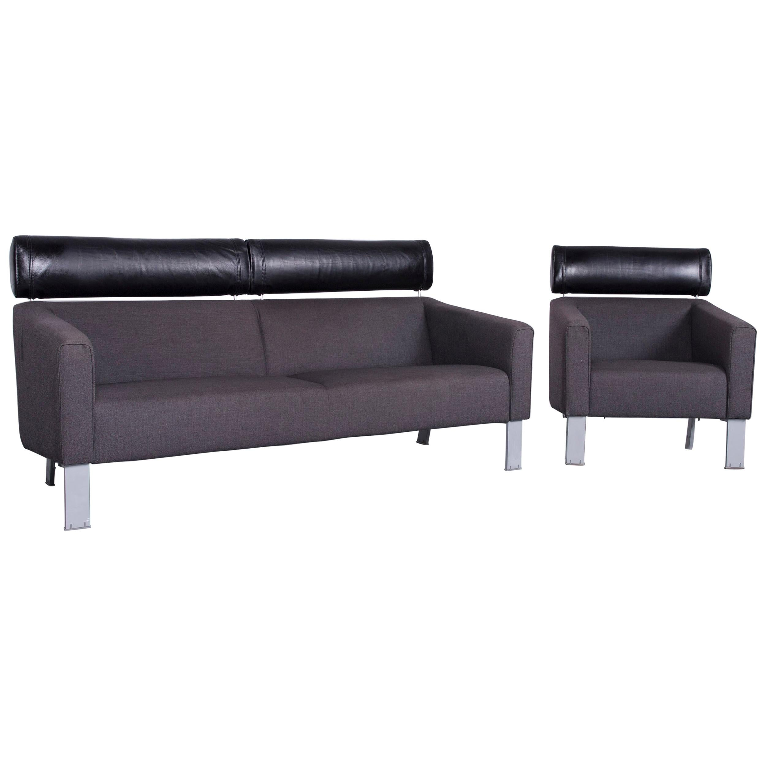 Leolux Patachou Designer Sofa Armchair Set Fabric Grey Two Seat Couch
