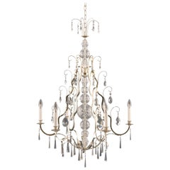 Art Deco Brass Crystal Glass Chandelier 1918 Early 20th Century by Woka Lamps