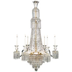 English Regency Crystal Waterfall Chandelier
