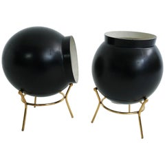 Pair of Black Bomb Table Lamps by Gilardi & Barzaghi, Italy, 1950