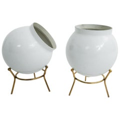 Stilnovo style Pair of White Bomb Table Lamps by Gilardi & Barzaghi, Italy, 1950