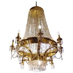 Large Twelve-Light Crystal Chandelier in the English Regency Manner
