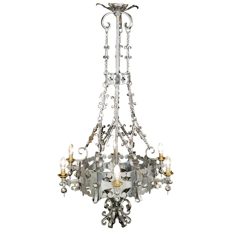 Antique Gothic Revival Steel Chandelier For Sale - Antique Gothic Revival Steel Chandelier For Sale At 1stdibs