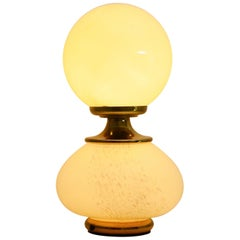 Murano Glass and Brass Regency Table Lamp by Fabbian, 1970s