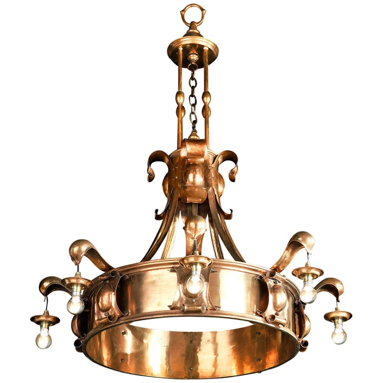 Large Arts & Crafts Eight-Light Bronze Chandelier