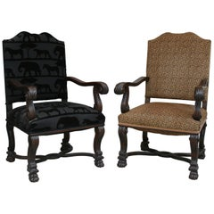 Antique Baroque Style Armchairs, 1860s, Set of Two