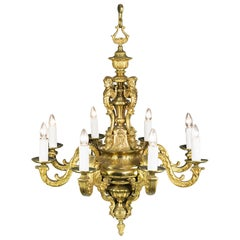 Large Eight Branch Victorian Baroque Style Antique Chandelier