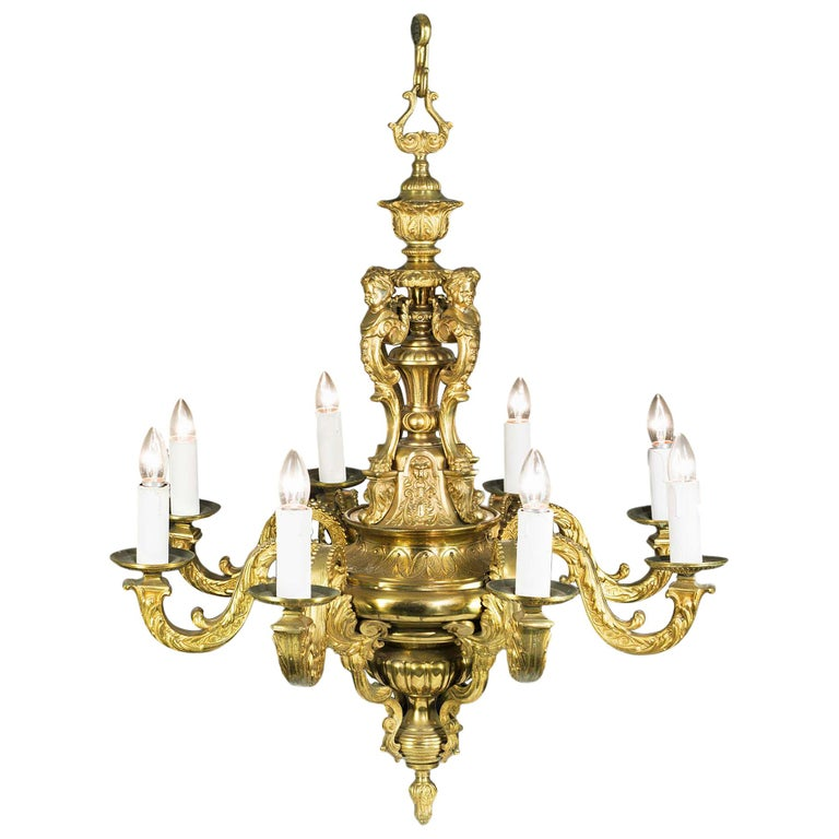 Large Eight Branch Victorian Baroque Style Antique Chandelier For Sale - Large Eight Branch Victorian Baroque Style Antique Chandelier For