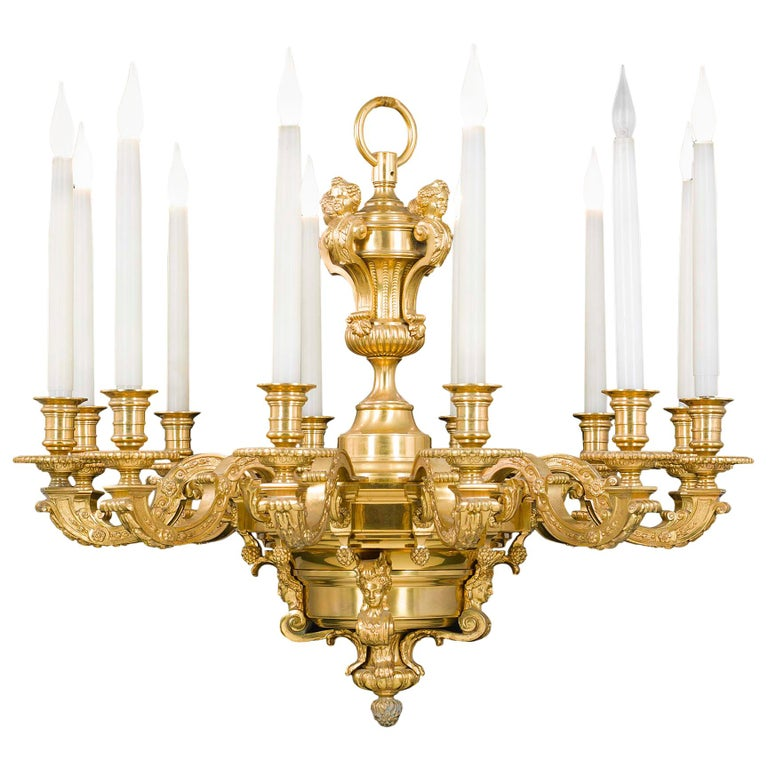 Large 12 Branch Victorian Baroque Style Gilt Brass Antique Chandelier For  Sale - Large 12 Branch Victorian Baroque Style Gilt Brass Antique