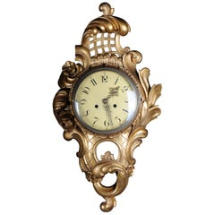 French Rococo Wall Clock 19th Century, Gold