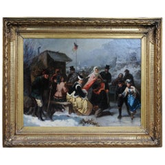 Oil Painting Ice Skating of a Princess, Germany 19th Century