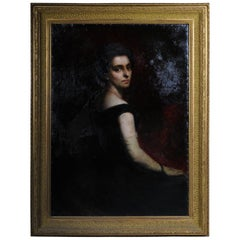 19th Century Oil Painting Aristocratic Lady Portrait