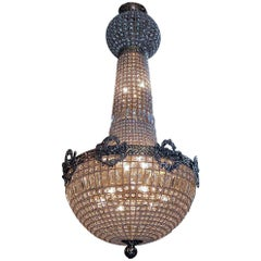 Large 20th Century Crystal Chandelier in the Regency Manner