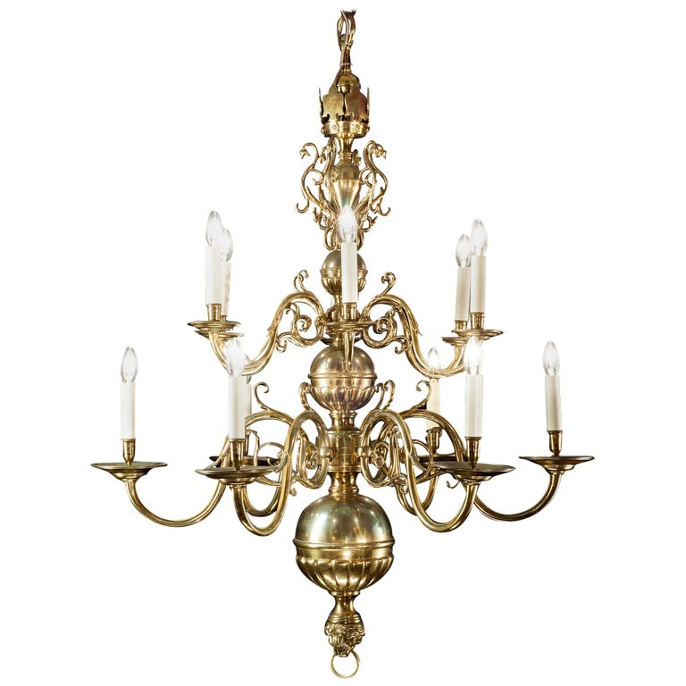 Ornate 12 Branch Two-Tier Dutch Baroque Style Brass Chandelier