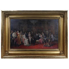 19th Century Painting by A. Zoffoli Audience with the Queen